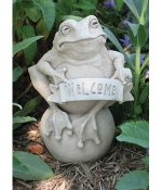 Frog on the Ball Welcome Indoor - Outdoor Plaque or Statue - Product Image