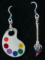 Palette and Brush Earrings - Product Image