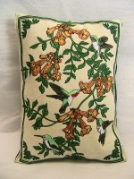 Hummingbirds Balsam Filled Embroidered Pillow - Product Image