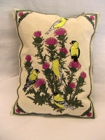 Finches Balsam Filled Embroidered Pillow - Product Image
