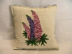 Lupine Balsam Filled Embroidered Pillow - Product Image
