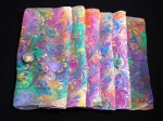 Hand Marbled Silk Scarf with Clip - Summer - Product Image