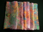 Hand Marbled Silk Scarf with Clip - Bittersweet - Product Image