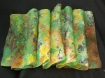 Hand Marbled Silk Scarf with Clip - Spanish Green - Product Image
