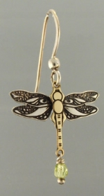 Dragonfly Earrings With Bead - Product Image