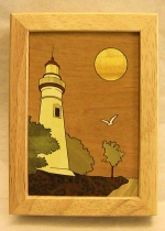 Marquetry Top Box (5 X 4) - 'Lighthouse' - Product Image