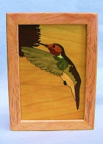 Marquetry Top Box (5 X 4) - 'Hummingbird' - Product Image