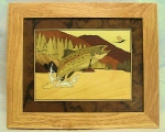 Marquetry Framed Panel (10 X 12) - 'Trouts Heaven' - Product Image