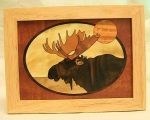 Marquetry Framed Panel (8 X 6) - 'The Moose Head' - Product Image