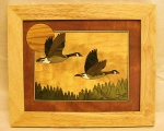 Marquetry Framed Panel (10 X 12) - 'Northwoods Geese' - Product Image