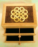 "Marquetry Top 2- Drawer Jewelry Box ""Lovers Knot"" - Product Image"