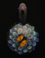 Butterfly Glass Pendant - Indigo - Product Image