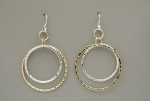 Double Peened Mixed Metal Circle Earrings - Product Image