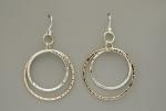 Double Peened Mixed Metal Circle Earrings - Product Image