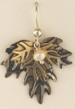 Silver and Brass Leaf Earrings - Product Image