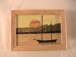 Marquetry Top Box (5 X 4) - 'Sailboat in Harbor' - Product Image