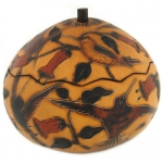 Hummingbird - Medium Carved Gourd Box - Product Image