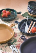 Bennington Stoneware Snack Plate with Fiddlehead Spreader - Product Image