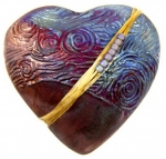 Starry Night Raku Heart Spirit Rattle - Product Image