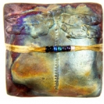 Dragonfly Raku Square Spirit Rattle - Product Image