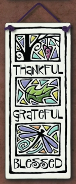 Thankful Grateful Blessed Large Tall Plaque - Product Image