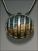 Sterling Silver and 18K Gold Pendant (450V5/5) On Gold Filled Chain - Product Image