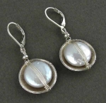 Sterling Wrapped White Coin Pearl Earrings - Product Image