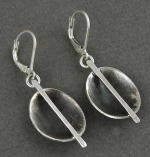 Oxidized Sterling Cup with Bisecting Linear Sterling Stick Earring - Product Image