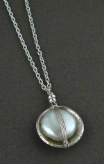Handwrapped Freshwater Pearl In Oxidized Sterling Cup Necklace - Product Image