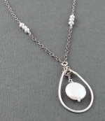 Handwrapped Stering Teardrop with White Coin Pearl Necklace - Product Image