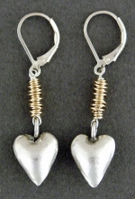 Sterling Heart Drop on 14KT Goldfilled Wrap Earring - Product Image