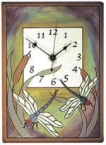 Dragonflies and Cattails Ceramic Wall Clock - Product Image