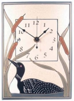 Loon and Cattails Ceramic Wall Clock - Product Image