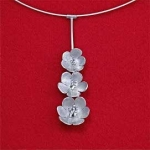 Sterling Silver Three Flower Cluster on Sterling Silver Necklace - Product Image