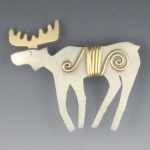 Wire Wrapped Moose Pin - Product Image
