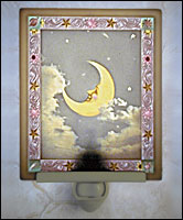 Man In The Moon Colored Lithophane Night Light - Product Image