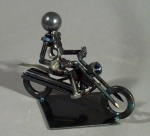 Motorcycle With One Rider Bolt Sculpture - Product Image