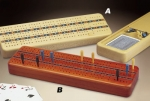 3 Track Cribbage Board with Cards - Product Image