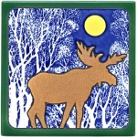 Hand Painted Moose Tile Trivet or Wall Hanging - Product Image