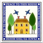 Hand Painted House Blessing Tile Trivet or Wall Hanging - Product Image