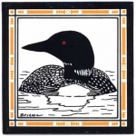 HAND PAINTED SINGLE LOON TILE TRIVET OR WALL HANGING - Product Image