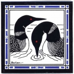 HAND PAINTED PAIR LOONS TILE TRIVET OR WALL HANGING - Product Image