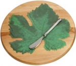 Round Cheese Server with Spreader and French Paper Leaves - Product Image